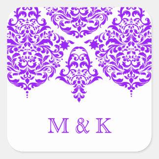 311月曜日Cherieのダマスク織のすばらしい紫色 スクエアシール