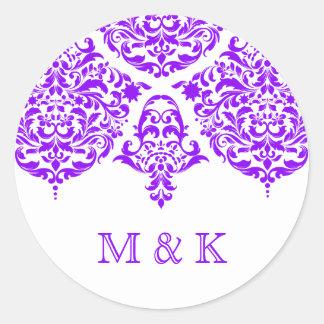 311月曜日Cherieのダマスク織のすばらしい紫色 ラウンドシール