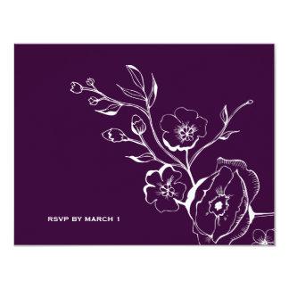 311酒のナス紫色RSVP カード