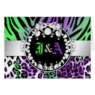 311頭のシマウマのレオTiqueのダイヤモンドのキスの紫色の緑 カード