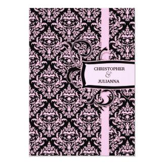 311-Juliannaピンクの甘草のダマスク織 カード