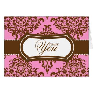 311 Lovey Doveyのダマスク織はピンクチョコレート感謝していしています カード