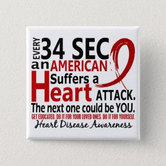 34秒毎に心臓病/攻撃 5.1CM 正方形バッジ