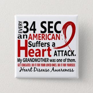34秒毎に祖母の心臓病か攻撃 5.1CM 正方形バッジ