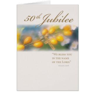 3994_50th金ゴールドの記念祭の十字 グリーティングカード