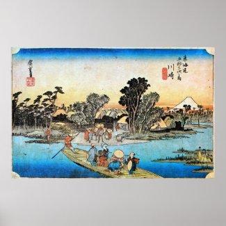 3. 川崎宿、広重川崎juku、Hiroshige、Ukiyo-e ポスター