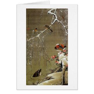 3. 雪中鴛鴦図、雪の若冲のオシドリ、Jakuchū カード