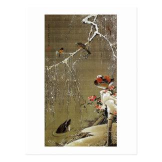 3. 雪中鴛鴦図、雪の若冲のオシドリ、Jakuchū ポストカード