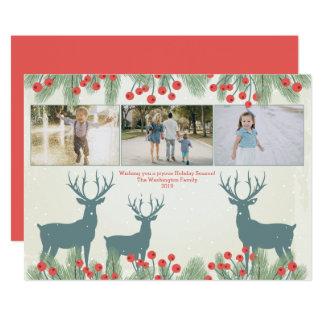 3 3つの写真のヒイラギの果実およびシカのクリスマスカード カード