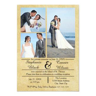 3/4の写真の縦の古い紙結婚式の発表 カード