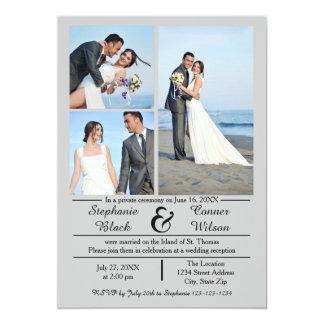 3/4の写真の縦の灰色の結婚式の発表 カード