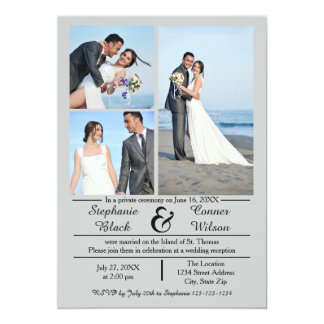3/4の写真の縦の灰色の結婚式の発表 12.7 X 17.8 インビテーションカード