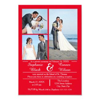3/4の写真の縦の赤3x5結婚式の発表 カード