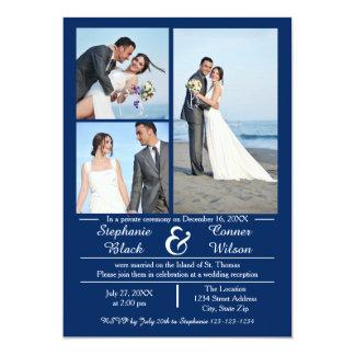 3/4の写真の縦の青結婚式の発表 カード