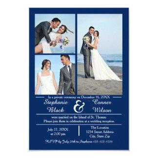 3/4の写真の縦の青3x5結婚式の発表 8.9 x 12.7 インビテーションカード