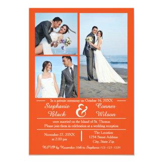 3/4個の写真の縦のオレンジ-結婚式の発表 12.7 X 17.8 インビテーションカード