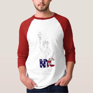 3/4袖のraglanのTシャツ自由の女神 Tシャツ