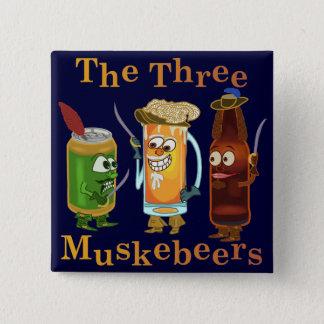 3 Muskebeersおもしろいなビールしゃれ 5.1cm 正方形バッジ