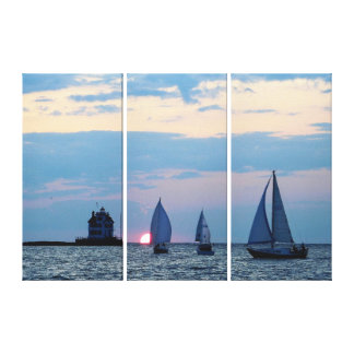 3 Ships at Sunset Wrapped Canvas Print キャンバスプリント