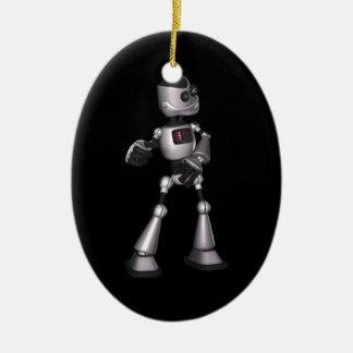♪♫♪ 3Dのハーフトーンのサイファイのロボット人の踊り セラミックオーナメント
