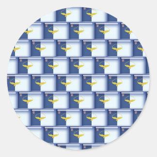 3Dアゾレスの旗パターン ラウンドシール