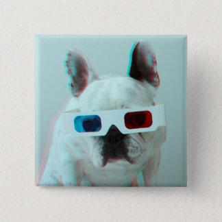3Dガラスを持つフレンチ・ブルドッグ 5.1CM 正方形バッジ