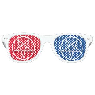 3Dスタイル色の逆にされた五芒星 パーティ用サングラス