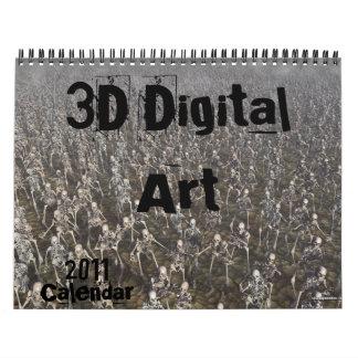 3Dデジタルの芸術のカレンダー カレンダー