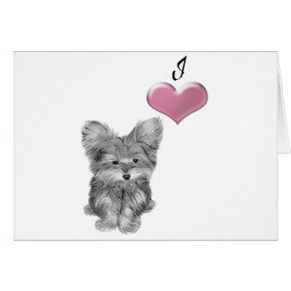 3Dハートのかわいいヨークシャーテリア犬の芸術を愛して下さい カード