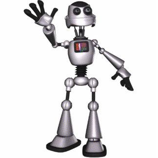 3Dハーフトーンにサイファイのロボット人の振ること 写真彫刻(台付き)