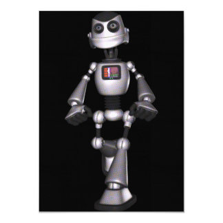 3Dハーフトーンのサイファイのロボット人 カード