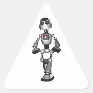3Dハーフトーンのサイファイのロボット人 三角形シール