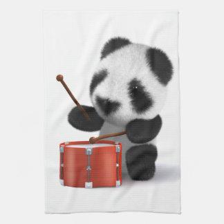 3dベビーのパンダのドラマー キッチンタオル