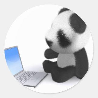 3dベビーのパンダのラップトップ ラウンドシール