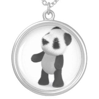 3dベビーのパンダは調べます シルバープレートネックレス