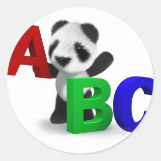 3dベビーのパンダABC ラウンドシール