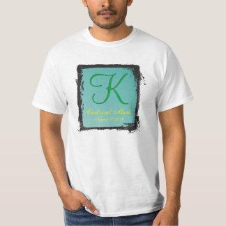 3dモノグラムのティール(緑がかった色)の緑 tシャツ
