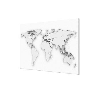 3D世界地図、コンピューター生成イメージ キャンバスプリント