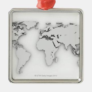 3D世界地図、コンピューター生成イメージ メタルオーナメント