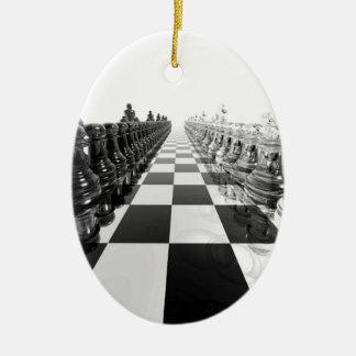 3D白黒チェス盤 セラミックオーナメント