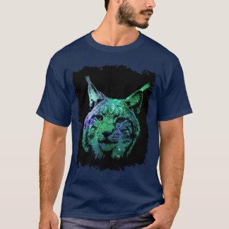 3D神秘的な銀河系のオオヤマネコの多彩なファンタジーの野生猫 Tシャツ