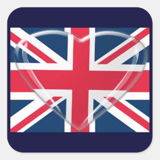 3D英国国旗のガラスハートおよび旗 スクエアシール