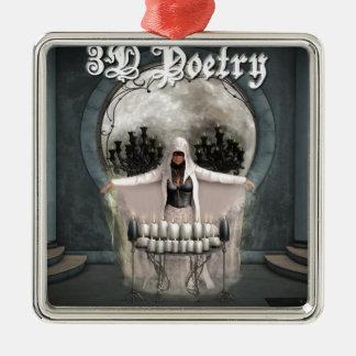 3D詩歌の商品 シルバーカラー正方形オーナメント