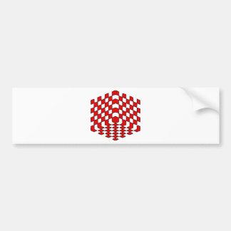 3D赤い立方体の目の錯覚 バンパーステッカー