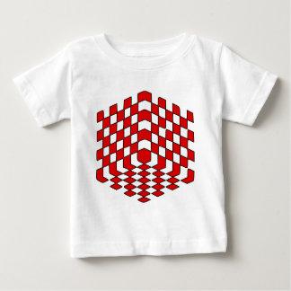 3D赤い立方体の目の錯覚 ベビーTシャツ