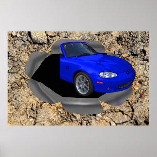 3D車、キャンバスぽんと鳴ります ポスター