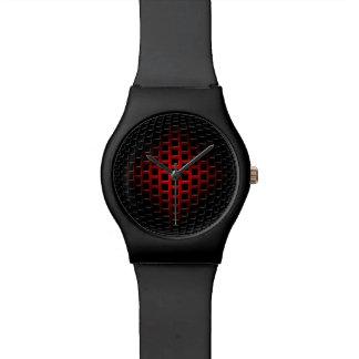 3D金属の球体(黒及び赤) 腕時計