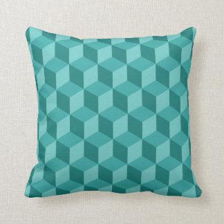 3D青く幾何学的な立方体パターン クッション