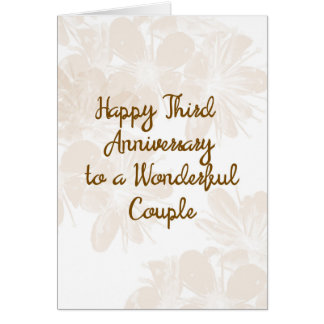 3rd Wedding Anniversary Card with Tan Flowers カード