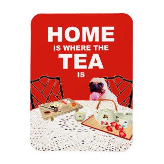 3X4パグ犬の磁石-茶があるところでがあります家 マグネット